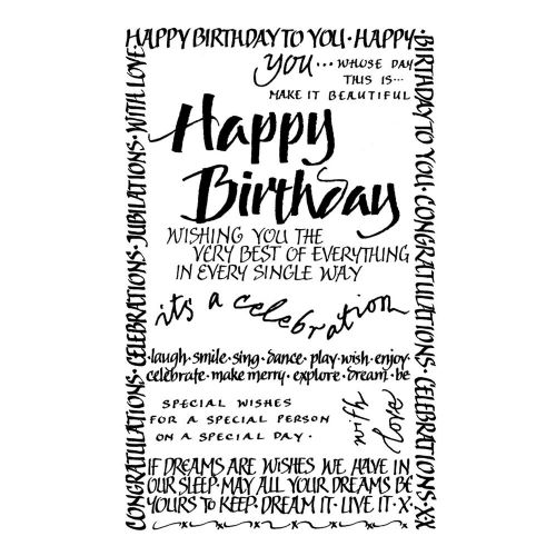 Happy Birthday Calligraphy Crafty Individuals Stamp (CI-261)